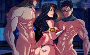 Batman, Robin, Mulher maravilha em sexo a três